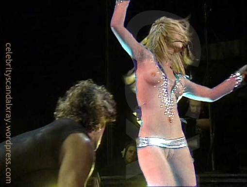 Britney Spears dancing in a see-thru sheer bodysuit.